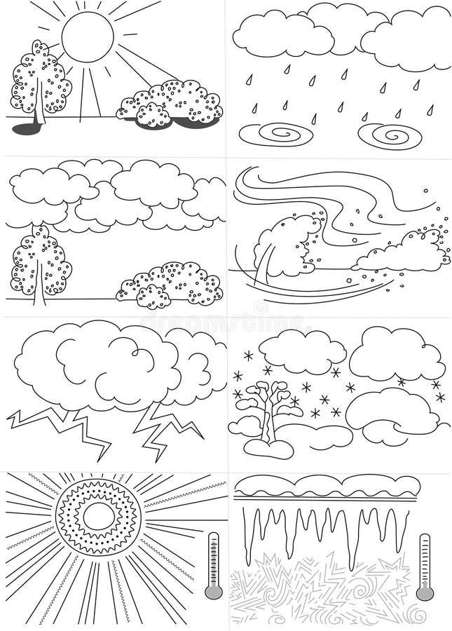 Виды погоды светотеневые иллюстрация штока