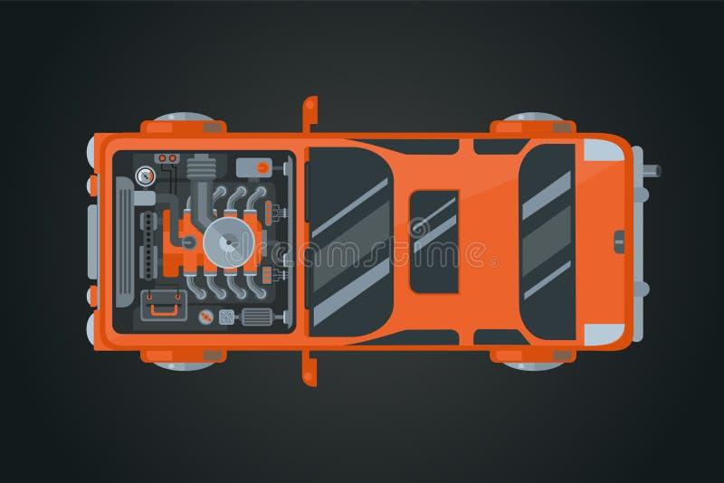 Вид автомобиля сверху Иллюстрация вектора автомобиля Инфографика автомобиля Открыть двигатель транспорта иллюстрация штока