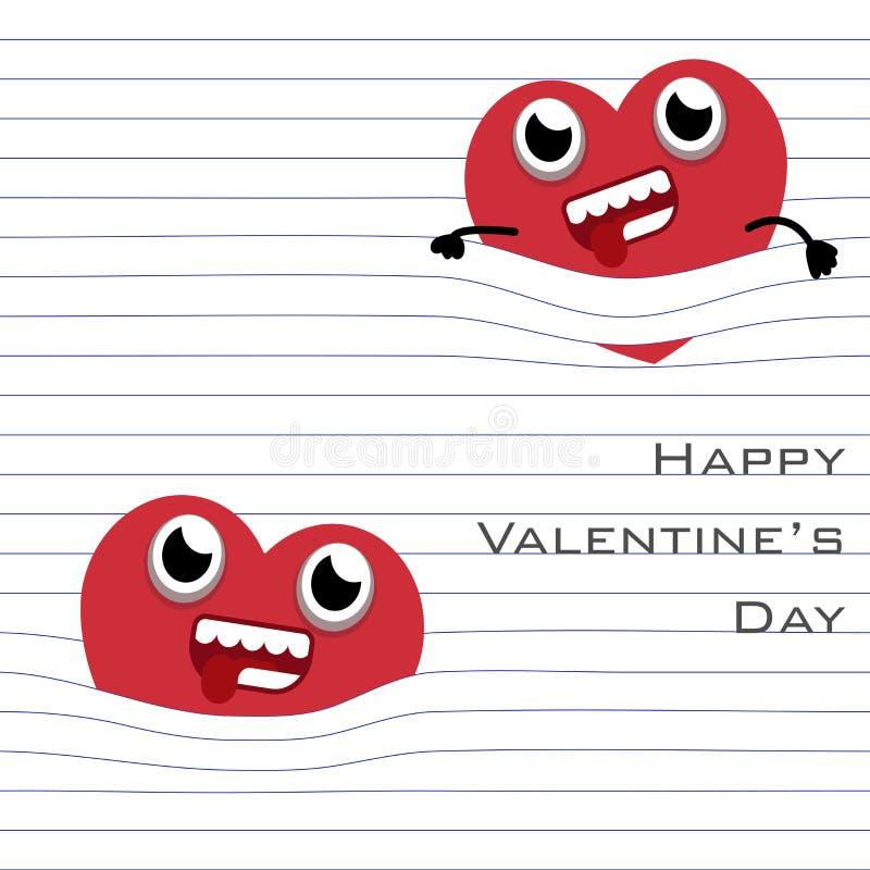 Вид мультфильма сердца MobileRed с линией страницы бумаги в белой предпосылке иллюстрация штока