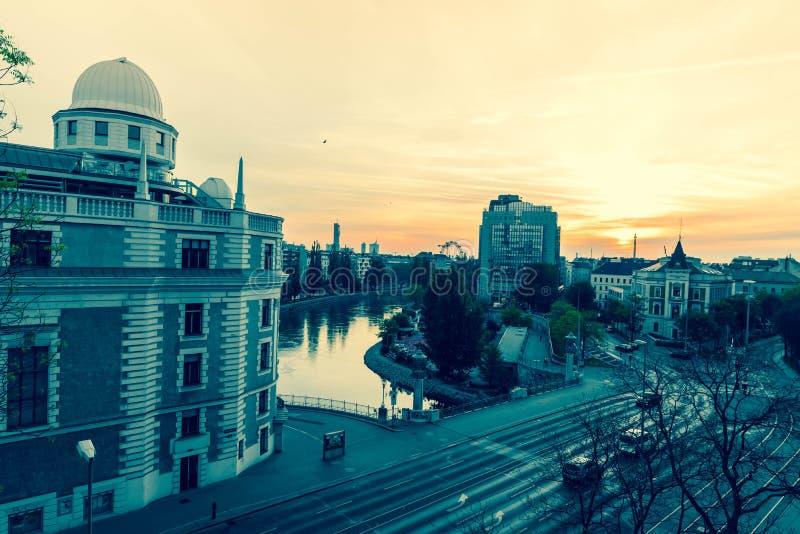 Вид на город вены на восходе солнца стоковое изображение