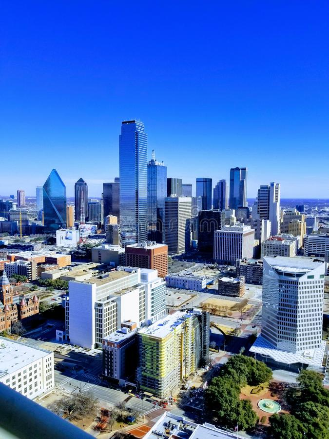 Вид на город Даллас от башни Реюньона, Техаса стоковая фотография rf