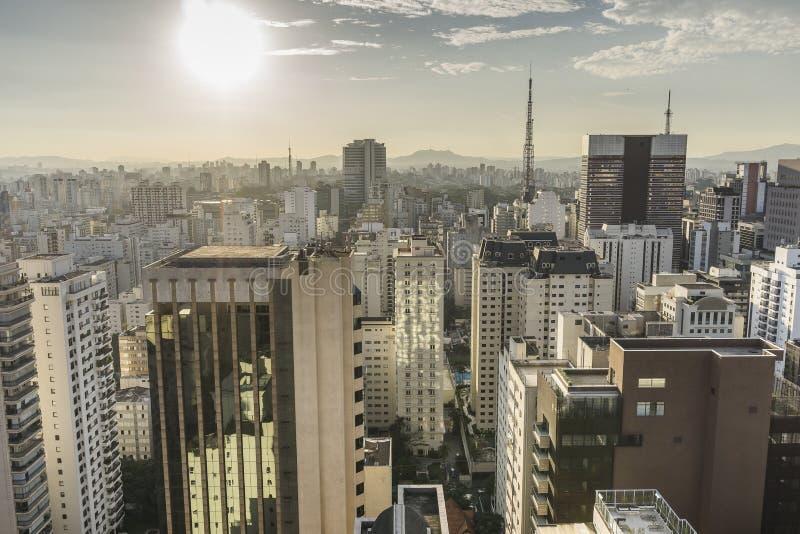 Вид на город Сан-Паулу от вершины здания стоковая фотография