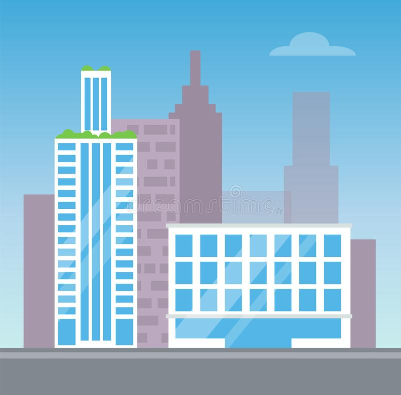 Вид на город с 2 современными зданиями, карточка цвета иллюстрация вектора