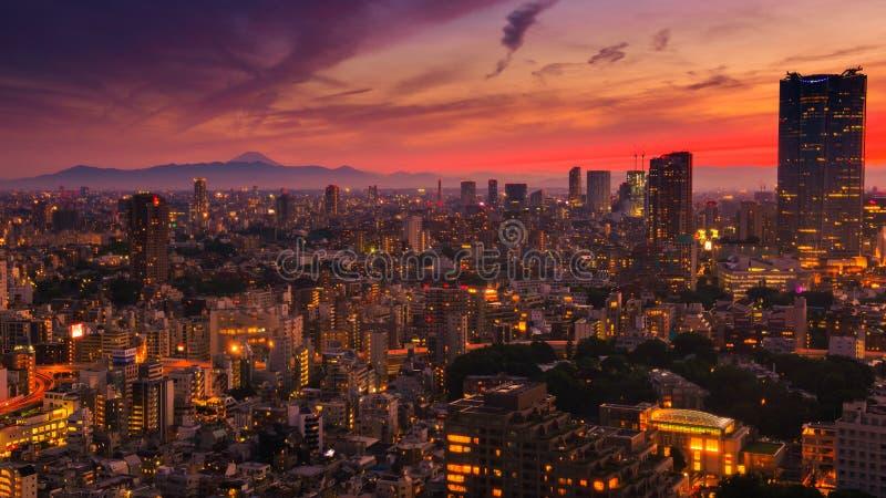 Вид на город Токио, здание Токио городское с горой Фудзи на заходе солнца от башни Токио стоковая фотография