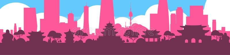 Вид на город Южной Кореи горизонта силуэта Сеула с небоскребами и знаменем ориентир ориентиров горизонтальным иллюстрация вектора