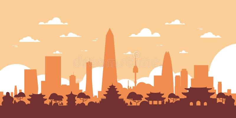 Вид на город Южной Кореи горизонта силуэта Сеула с небоскребами и ориентир ориентирами иллюстрация штока