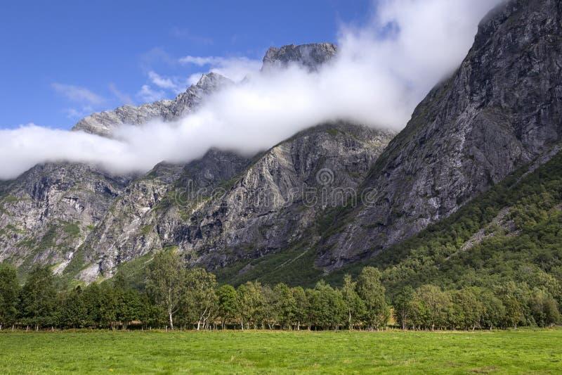 Вид на красивые горы Норвегии стоковые изображения