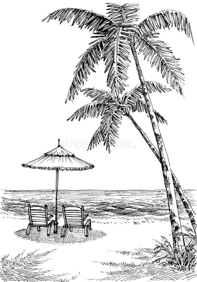Вид на море от пляжа иллюстрация вектора