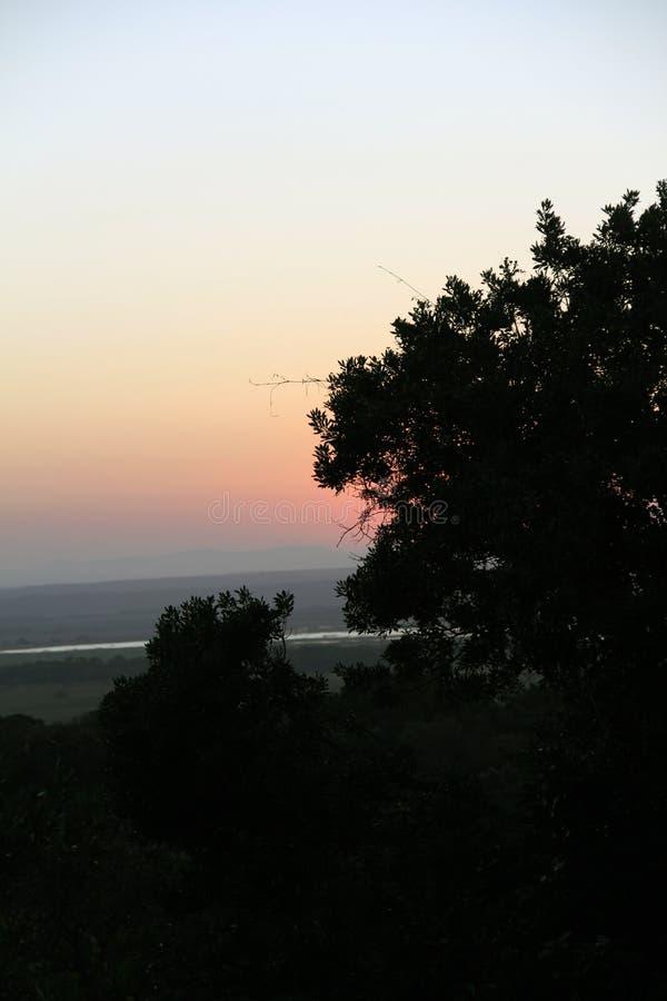 Вид на озеро Сент-Люсия захода солнца от близко накидки Vidal стоковое фото rf