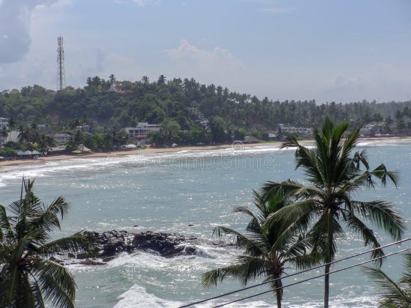 Вид на океан в Merissa, Шри-Ланка стоковое изображение