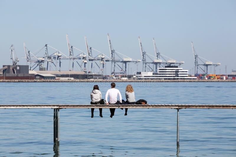 Вид промышленного порта Орхуса, Дания стоковое изображение