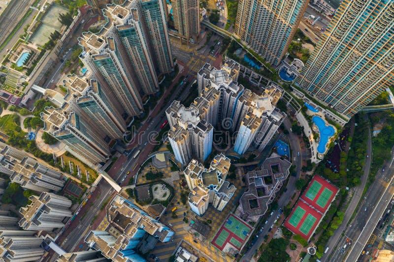 Вид сверху на город Гонконг стоковые фото
