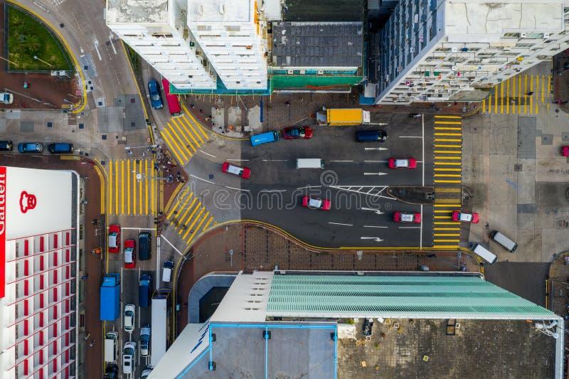 Вид сверху на трафик в Гонконге стоковые изображения rf