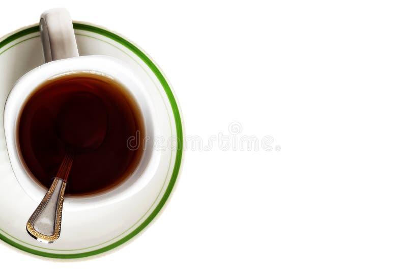 Вид сверху на чашку чая, изолируйте на белый стоковое изображение rf