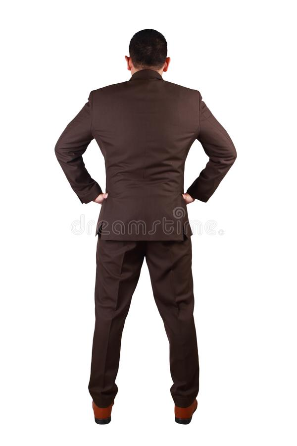 Вид сзади бизнесмена Полный портрет тела изолированный на белизне стоковые изображения