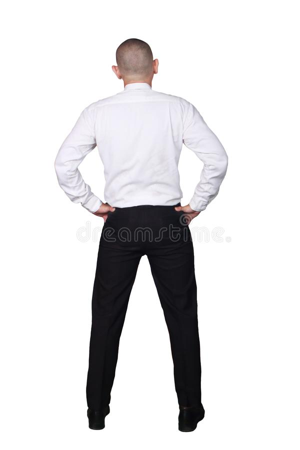 Вид сзади бизнесмена Полный портрет тела изолированный на белизне стоковое фото rf