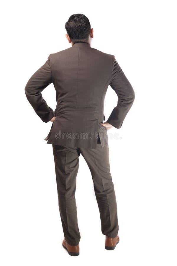Вид сзади бизнесмена Полный портрет тела изолированный на белизне стоковое изображение rf