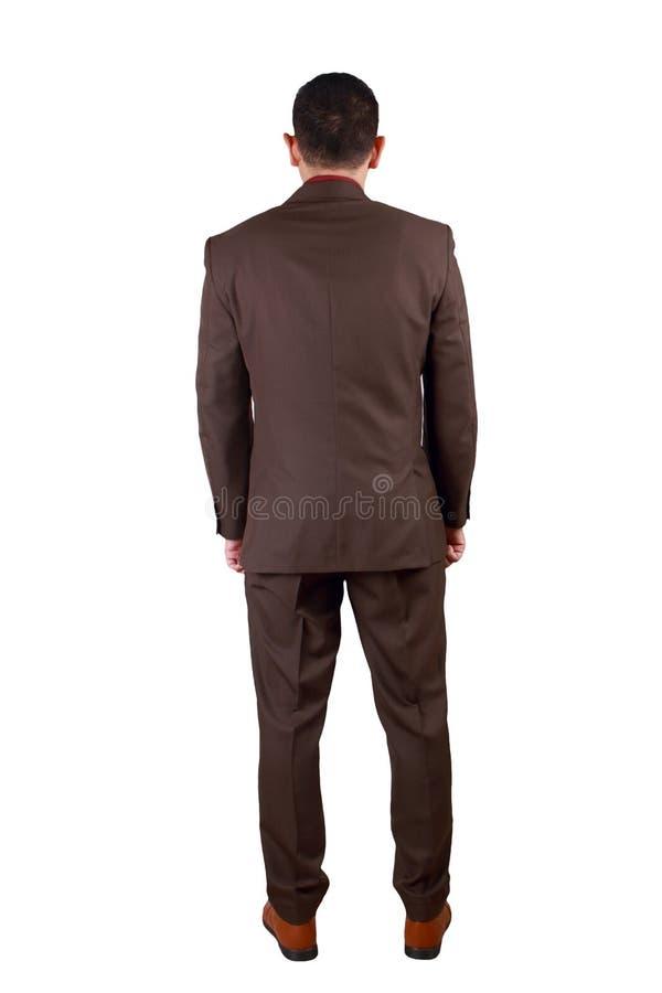 Вид сзади бизнесмена Полный портрет тела изолированный на белизне стоковое фото