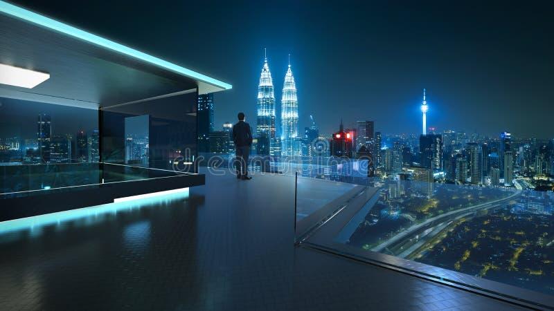 Вид сзади бизнесмена смотря центр большого города стоковая фотография rf