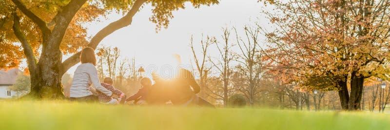 Вид сзади панорамы молодой семьи при 3 дет наслаждаясь da стоковая фотография