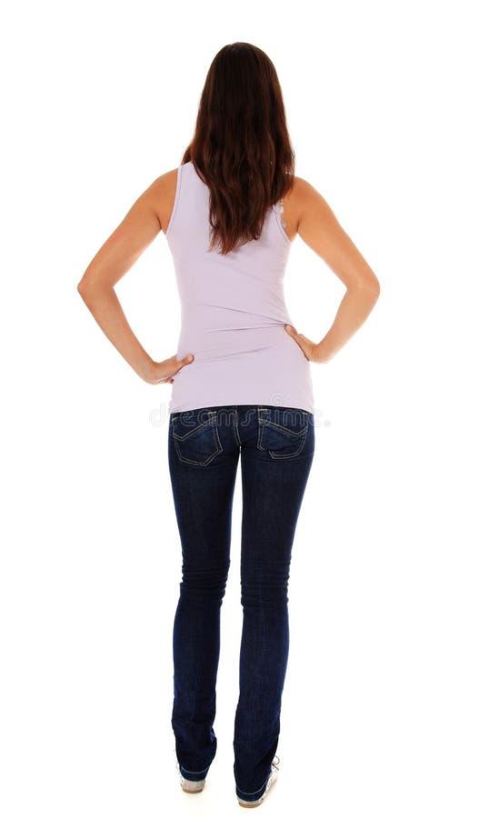 Вид сзади привлекательного девочка-подростка стоковое фото