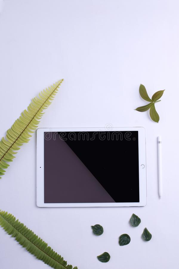 Вид спереди белого планшета с модель-макетом пустого экрана стоковое фото rf