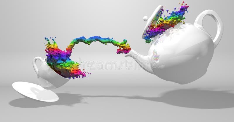 Вид спереди белого чайника лить брызги краски с цветами радуги к белой чашке брызгая жидкость бесплатная иллюстрация