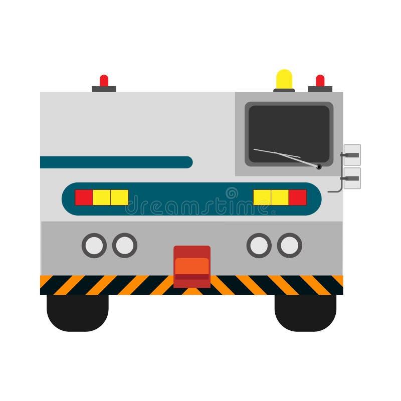 Вид спереди вектора эвакуатора аэропорта плоский Спасение обслуживания самолета транспорта опорожнения иллюстрация штока