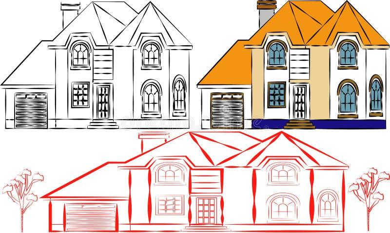 Вид спереди иллюстрации вектора домов внешний с крышей самомоднейше Квартира здания таунхауса Домашний фасад с дверями и окнами иллюстрация вектора
