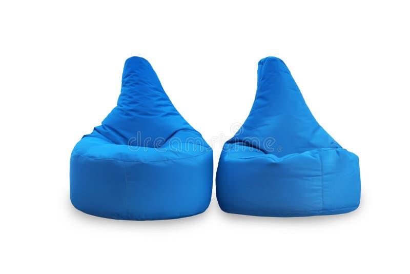 Вид спереди 2 мягких голубых больших стульев погремушк изолированных на белой предпосылке Объекты для дизайна стоковое изображение
