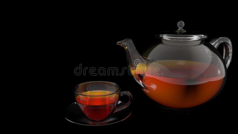 Вид спереди стеклянного чайника и стеклянной чашки вполне чая на стеклянном блюде на черной предпосылке иллюстрация штока