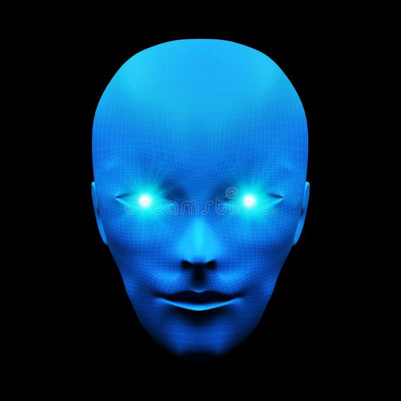 Вид спереди человеческой головы Модель изолированная на голубой предпосылке, искусстве иллюстрация штока