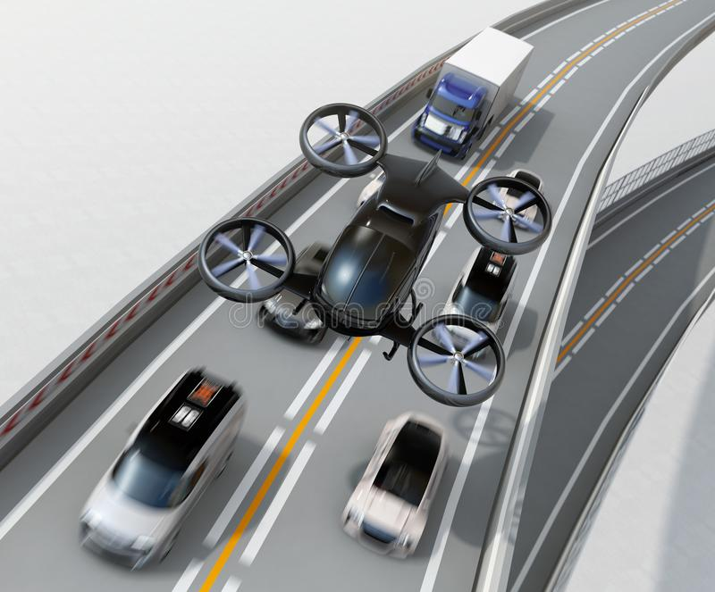Вид спереди черного трутня пассажира летая над автомобилями в варенье плотного движения иллюстрация штока