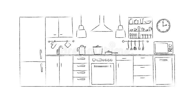 Вид спереди чертежа руки эскизов кухни внутреннее бесплатная иллюстрация