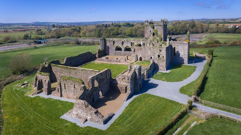 вид с воздуха аббатство dunbrody графство Wexford Ирландия стоковая фотография