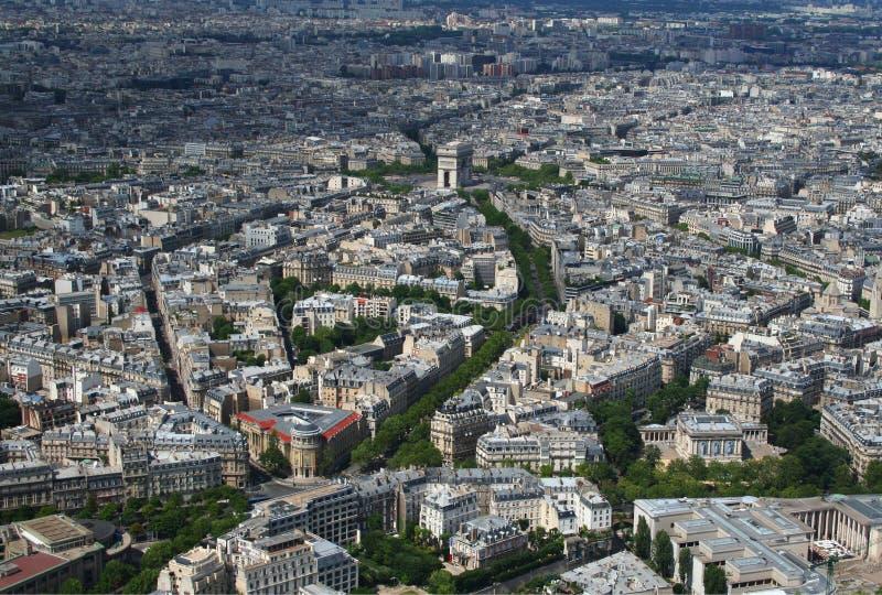 Вид с воздуха Арч Де Триомпюе в Париж стоковое изображение