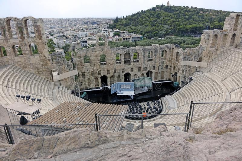 Вид с воздуха Афина-odeon Аттика herodes стоковая фотография