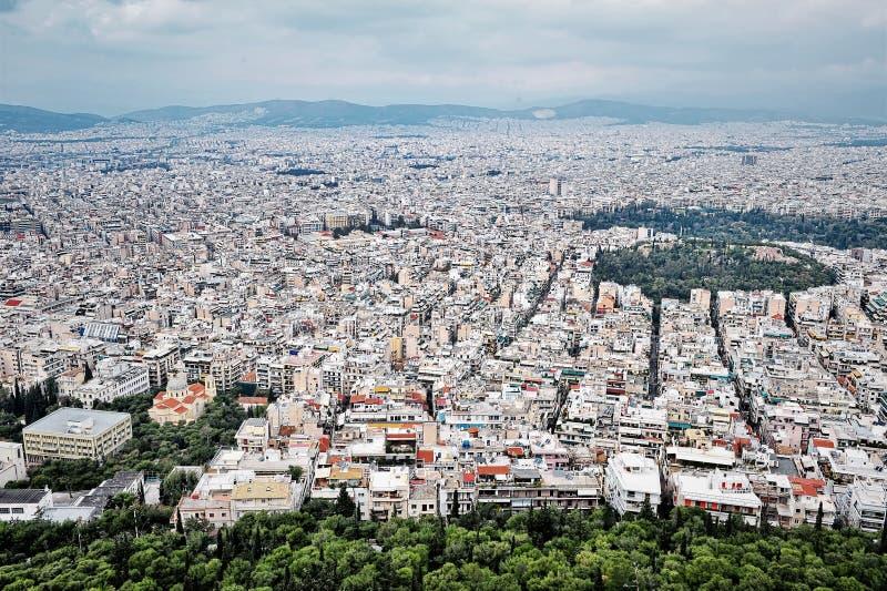 Вид с воздуха Афин стоковые фото