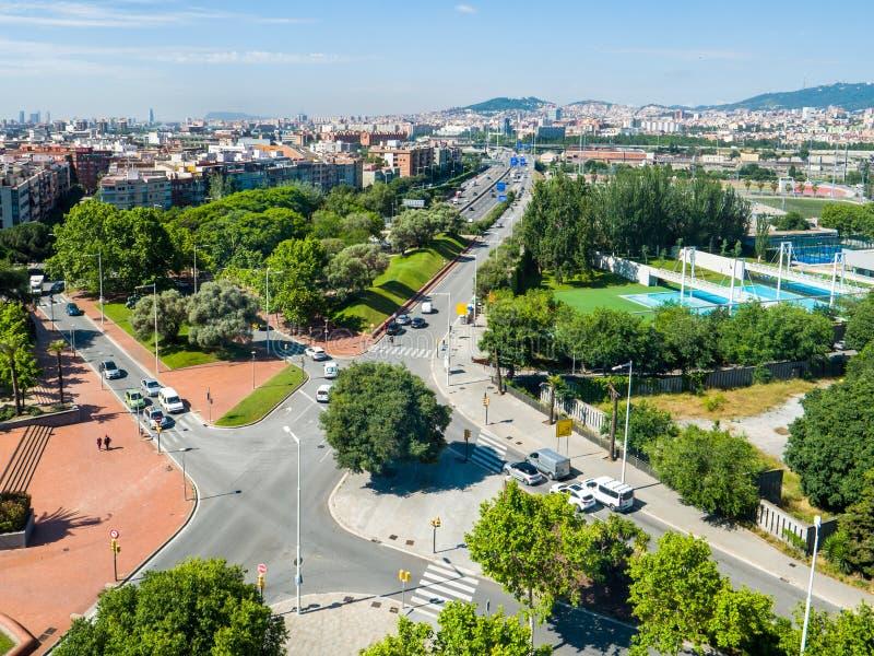 Вид с воздуха Барселоны Испании с шоссе a стоковое фото