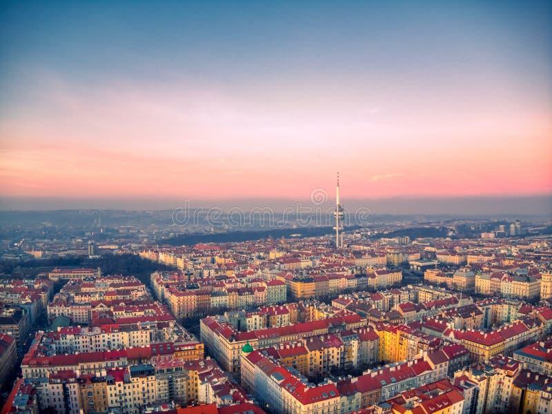 Вид с воздуха башни ТВ Праги стоковое изображение