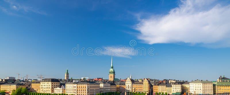 Вид с воздуха горизонта с традиционными зданиями, Swe Стокгольма стоковые изображения rf