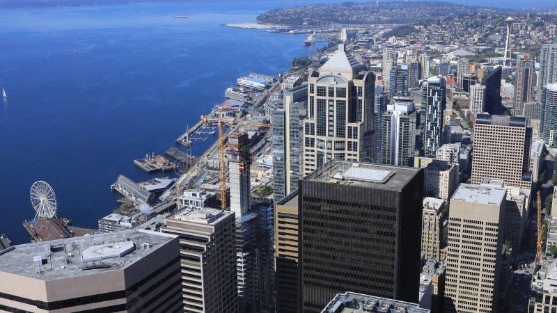 Вид с воздуха горизонт Сиэтл, Вашингтона стоковые изображения rf