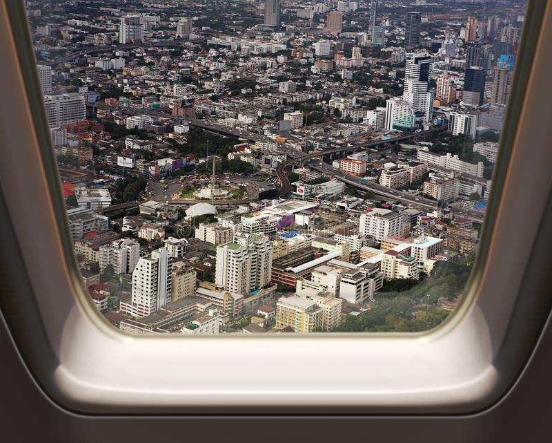 Вид с воздуха города Бангкока стоковые фотографии rf