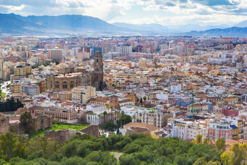 Вид с воздуха городского пейзажа Малаги, Андалусии, Испании стоковое изображение rf