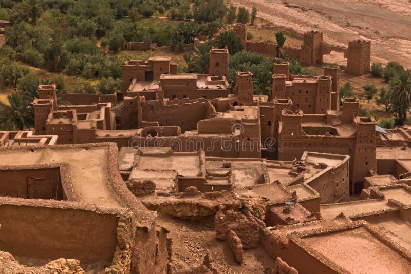 Вид с воздуха деревни berber Ait Бен Haddou, места всемирного наследия ЮНЕСКО в Марокко стоковое фото