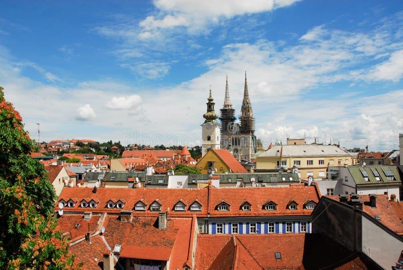 Вид с воздуха Загреб стоковая фотография rf