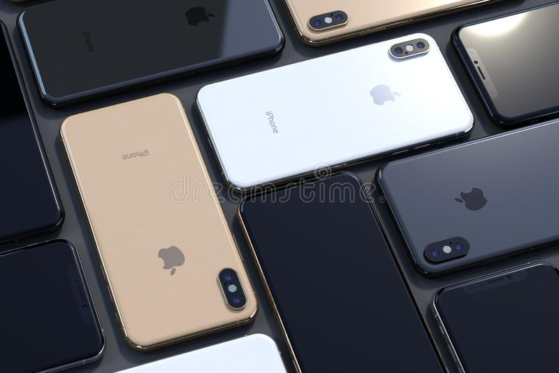 Вид с воздуха золота Xs iPhone, серебра и серого цвета космоса, горизонтального стоковое изображение rf