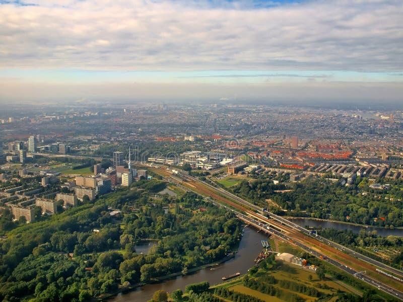 Вид с воздуха известного Амстердам Zuid Голландии стоковое изображение rf