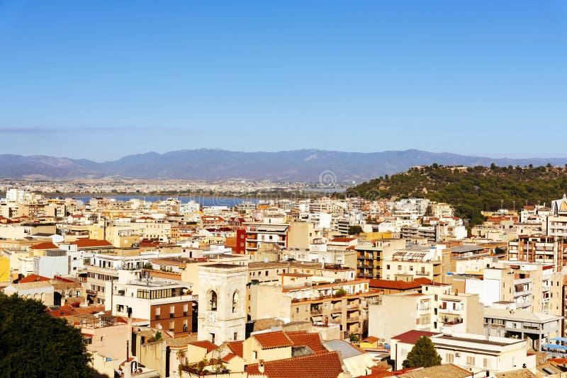 Вид с воздуха Кальяри, в Сардинии, Италия стоковые фото