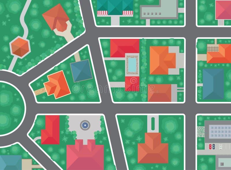 Вид с воздуха карты улиц городка иллюстрация штока